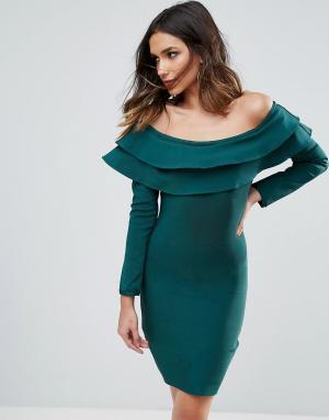 Wow Couture Бандажное облегающее платье мини с открытыми плечами и оборками Co. Цвет: зеленый
