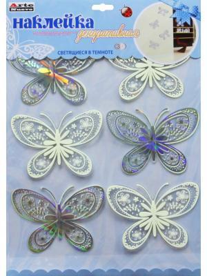 Наклейка для декора бабочки ArteNuevo. Цвет: белый, серебристый