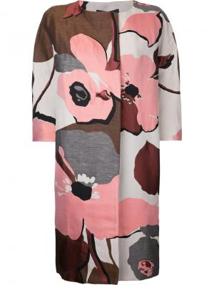 Пальто с цветочным принтом без воротника Paule Ka. Цвет: розовый и фиолетовый