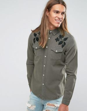ASOS Черная джинсовая рубашка классического кроя в стиле вестерн. Цвет: зеленый