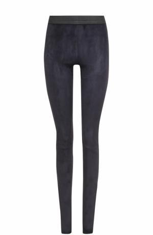 Замшевые брюки-скинни с контрастным поясом DROMe. Цвет: синий
