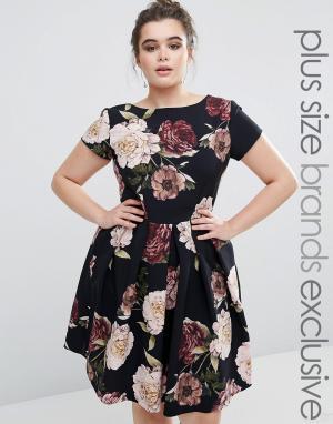 Closet Plus Платье миди с цветочным принтом. Цвет: красный