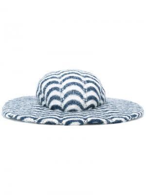 Широкополая шляпа с полосатым узором And Re Walker. Цвет: синий