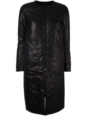 Кожаное пальто на молнии Ahirain. Цвет: чёрный