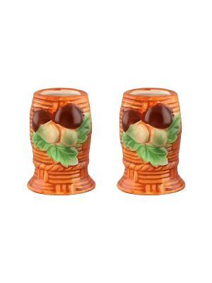 Набор из двух вазочек под зубочистки Грибы Elan Gallery. Цвет: коричневый, зеленый