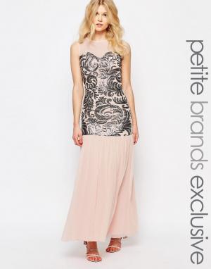 John Zack Petite Платье макси с пайетками и тюлевой юбкой. Цвет: розовый