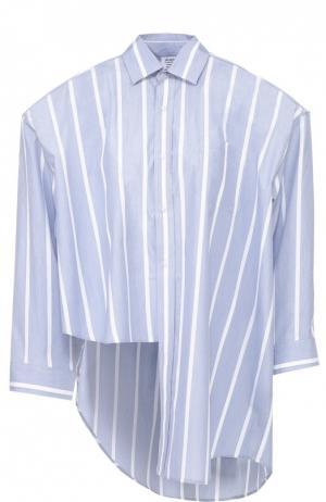 Хлопковая блуза асимметричного кроя в полоску Vetements. Цвет: голубой