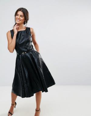 Closet London Фактурное платье с плиссированным воротом и поясом. Цвет: черный