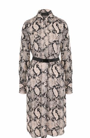 Платье-рубашка со змеиным принтом и поясом By Malene Birger. Цвет: разноцветный