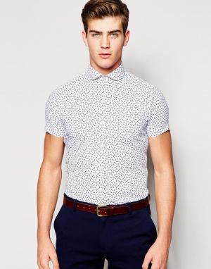 Red Eleven Узкая рубашка с принтом якорей. Цвет: синий