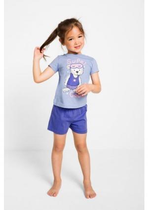 Пижама с шортами. Цвет: жемчужно-синий/лилово-синий