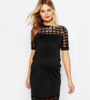 ASOS Maternity Платье для беременных с решетчатой вставкой PETITE. Цвет: черный