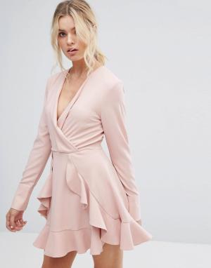 C/meo Collective Сверхлегкое платье с длинными рукавами и оборками. Цвет: розовый