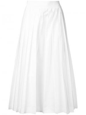 Укороченные брюки со складками Muveil. Цвет: белый