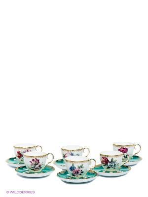 Чайный набор Цветок Неаполя Pavone. Цвет: белый, бирюзовый