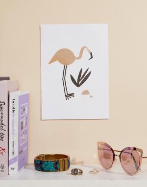 OHH DEER Художественная репродукция на стену формата A5 с изображением фламинго. Цвет: мульти