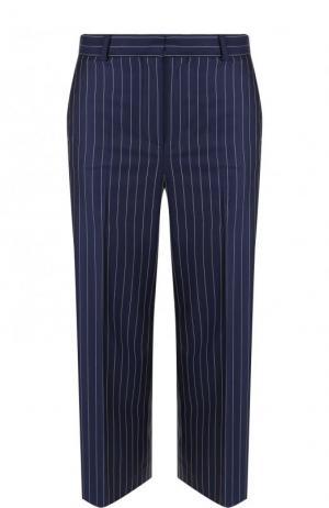 Укороченные шерстяные брюки в полоску Versace. Цвет: синий