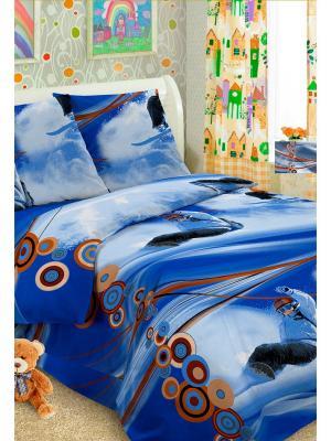 Детский комплект постельного Сноуборд, 1,5-спальный, наволочка 50*70, хлопок Letto. Цвет: синий, голубой