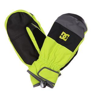 Варежки сноубордические DC Seger Mitt Lime Punch Shoes. Цвет: серый,зеленый,черный