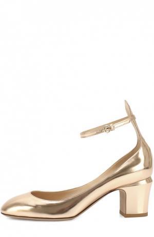 Туфли Tan-Go из металлизированной кожи с ремешком на щиколотке Valentino. Цвет: золотой