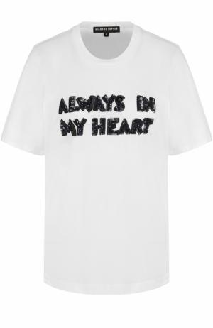 Хлопковая футболка с пайетками Markus Lupfer. Цвет: белый