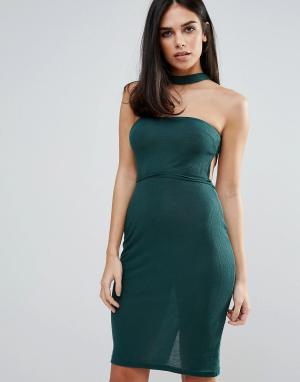Unique 21 Платье без бретелек с чокером. Цвет: зеленый