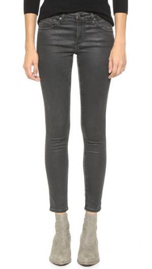 Джинсы-суперскинни в стиле леггинсов до щиколотки AG. Цвет: винтажный кожаный светло-черный