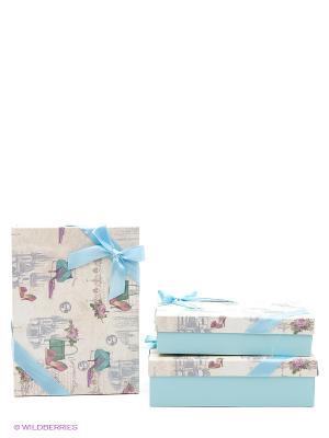 Коробка картоннная набор из 3 VELD-CO. Цвет: голубой