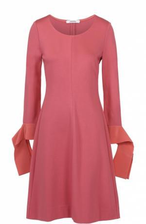 Приталенное платье-миди с декорированными рукавами Dorothee Schumacher. Цвет: розовый