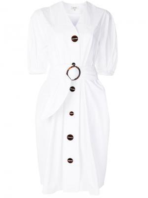 Платье-рубашка с поясом Isa Arfen. Цвет: белый