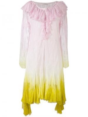 Платье с эффектом тай-дай Philosophy Di Lorenzo Serafini. Цвет: розовый и фиолетовый