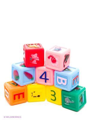 Набор из 9 кубиков с буквами и картинками Globo. Цвет: желтый, зеленый, голубой
