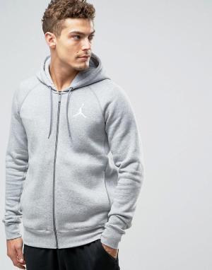 Jordan Худи серого цвета на молнии Nike Jumpman Flight 823064-063. Цвет: серый