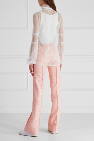 Шелковые брюки LAROOM. Цвет: розовый