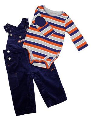 Комплект из 2-х предметов Чемпион Little Me. Цвет: синий, серый, оранжевый