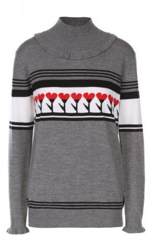 Пуловер прямого кроя с контрастным принтом Markus Lupfer. Цвет: темно-серый