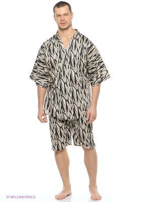 Пижама Maori. Цвет: светло-бежевый, черный