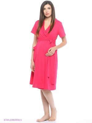 Комплект женский для беременных и кормящих (халат+сорочка) Hunny Mammy. Цвет: малиновый, розовый