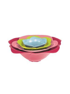Набор мисок розовый букет щербет разноцветный Zak!designs. Цвет: голубой, малиновый, розовый, зеленый