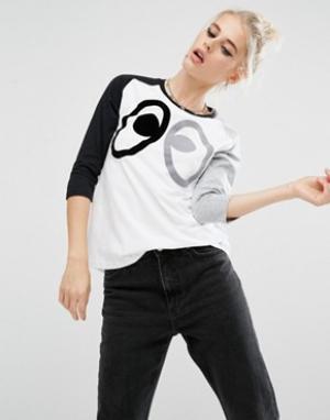 Mini Cream Oversize-футболка с рукавами реглан и принтом глаза. Цвет: белый