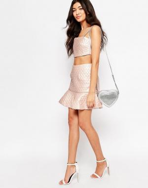 Lashes of London Стеганая юбка-колокол Cher. Цвет: розовый