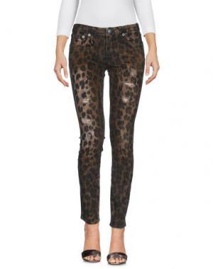 Джинсовые брюки R13. Цвет: коричневый