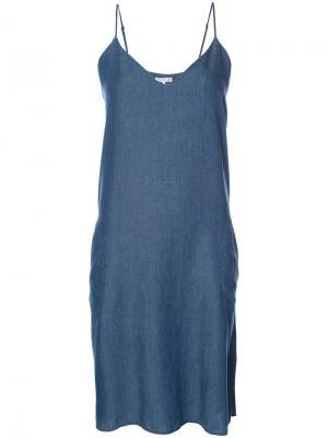 Платье-комбинация с V-образным вырезом Gold Hawk. Цвет: синий