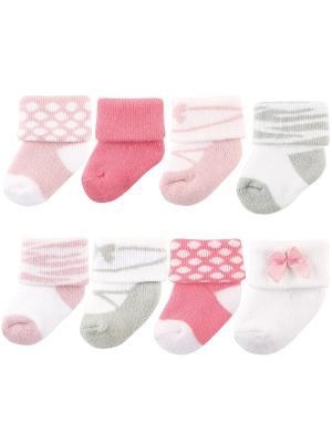 Комплект Носочки, 8 пар Luvable Friends. Цвет: розовый