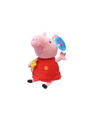 Мягкая игрушка Пеппа с игр озвученная, Свинка Peppa Pig. Цвет: голубой, розовый