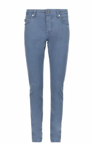 Зауженные хлопковые брюки Sartoria Tramarossa. Цвет: синий