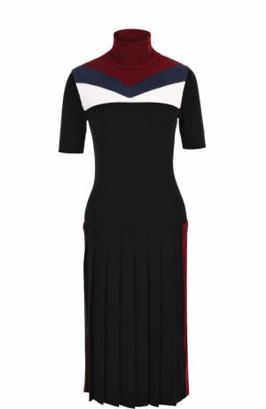 Платье с юбкой в складку и высоким воротником Stella Jean. Цвет: разноцветный