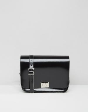 Leather Satchel Company Лакированная сумка через плечо. Цвет: черный