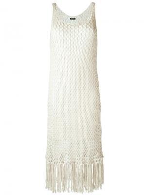 Трикотажное платье с бахромой Osklen. Цвет: белый