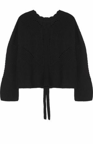 Пуловер фактурной вязки со шнуровкой на спинке Isabel Marant. Цвет: черный